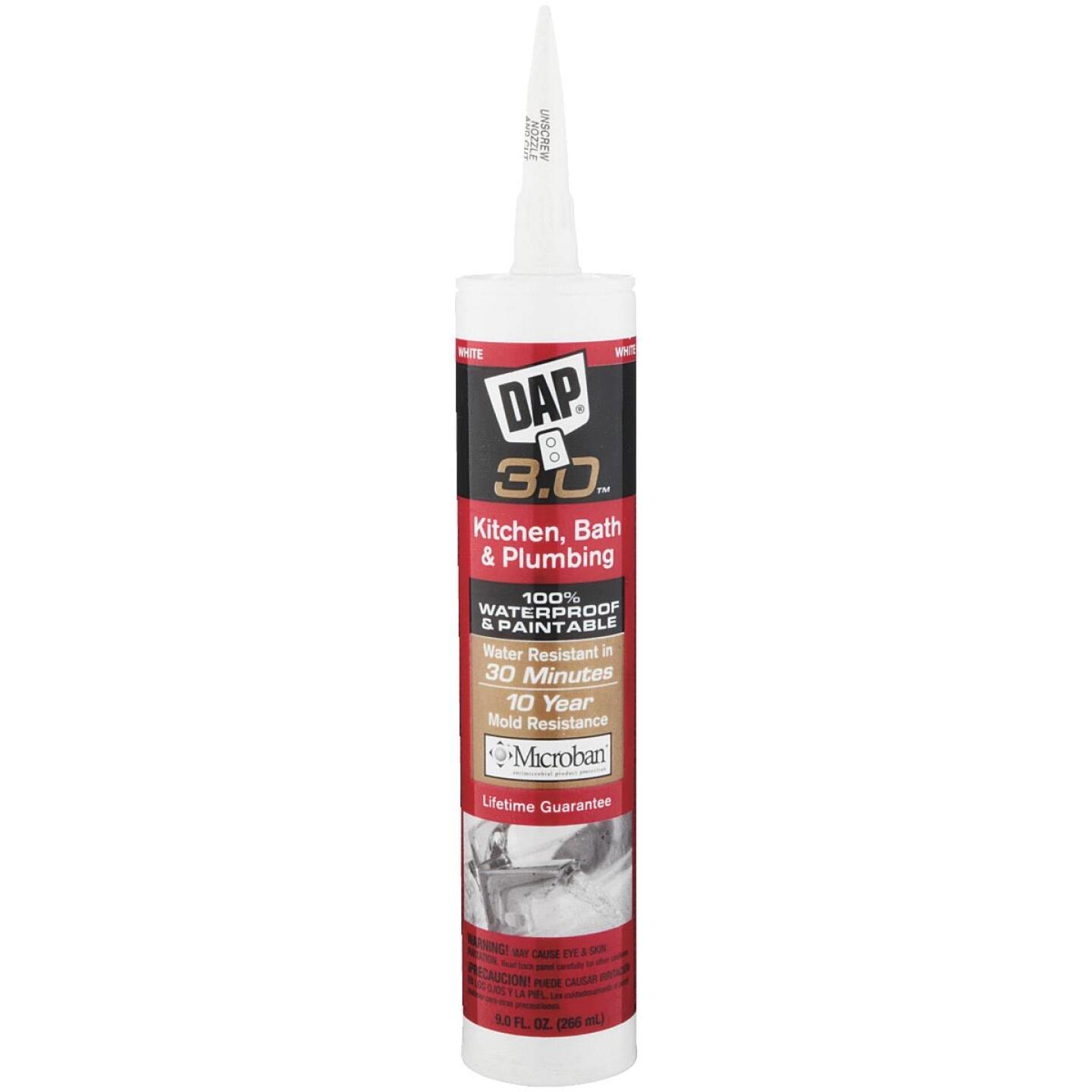 DAP 3.0 9 Oz. Gloss White Kitchen, Bath & Plumbing Caulk Image 1