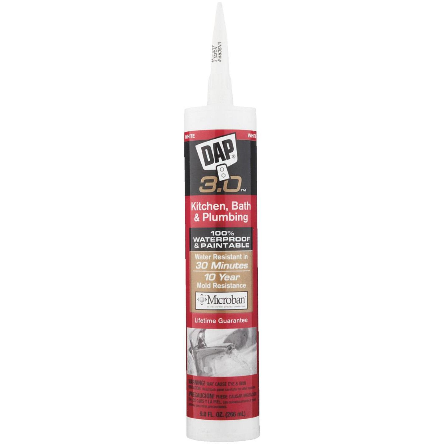 DAP 3.0 9 Oz. Gloss White Kitchen, Bath & Plumbing Caulk Image 2