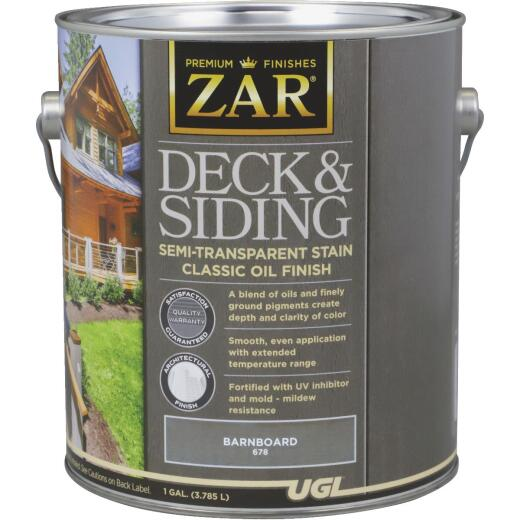 ZAR Semi-Transparent Deck and Siding Stain, Barnboard, Gallon
