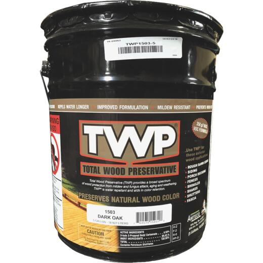 TWP1500 Series Low VOC Wood Preservative Deck Stain, Dark Oak, 5 Gal.
